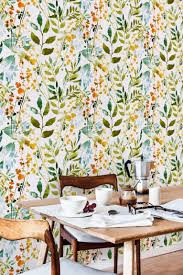 temporary wall paper boho floral removable wallpaper watercolor leaves botanical