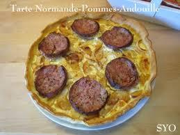 cuisine normande tarte normande crémeuse aux pommes et andouille de vire chez mamigoz