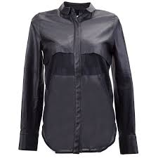 leather blouse barper leather top silk blouse