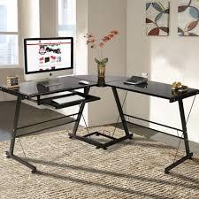 idabel dark brown wood modern desk with glass top l shape computer desk pc glass laptop table workstation corner