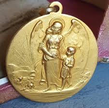 catholic communion gifts vintage guardian angel medal medallion pendant baptism gift