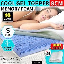Bamboo Memory Foam Mattress Topper 10 Zone Single Sized Cool Gel Memory Foam Mattress Topper Bamboo