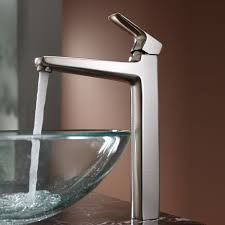 bathroom waterfall vessel faucet in brushed nickel finish for