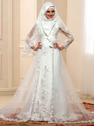 wedding dresses with sleeves sleeves beading lace tulle arabic muslim wedding dress with