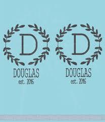 monogram vinyl decals laurel wreath with name date for