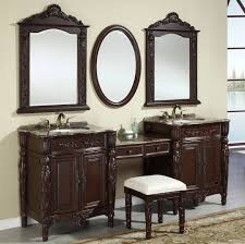 classy double carved dark browk vanity trough sink connected with