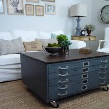 Wooden Coffee Table With Drawers Vintage Cole Steel Blueprint Cabinet Map Drawer Industrial Coffee
