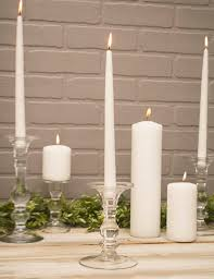 candle holder pillar taper 9 75 inches clear glass