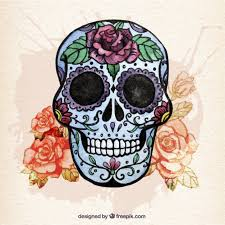 watercolor sugar skull with flowers vector free