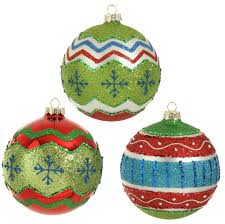 raz glittered glass ornaments merry and bright set of 3