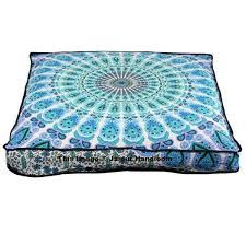 Pillow Ottoman Peacock Mandala Ottoman Pouf Cover Indian Square Floor Pillow Cover
