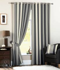 Chocolate Curtains Eyelet Luxury Striped Faux Silk Curtains Ready Made Eyelet Ring Top Fully