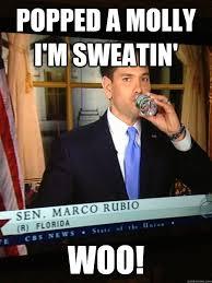 Rubio Meme - popped a molly i m sweatin woo marco rubio quickmeme
