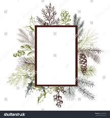 vector frame hand drawn christmas plants stock vector 715929235