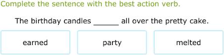ixl use action verbs 3rd grade language arts practice