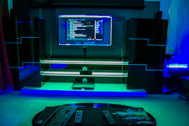 stunning gaming setup ideas with green and blue lighting also