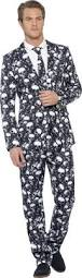 mens skeleton suit costume skull print stand out halloween fancy