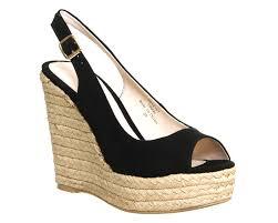 office palm slingback espadrille wedges black suede high heels
