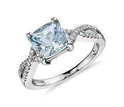 aquamarine diamond ring aquamarine and diamond infinity twist ring in 14k white gold