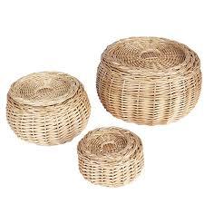 amazon com household essentials round vanity wicker storage