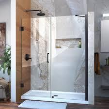 Black Shower Door Dreamline Unidoor 59 In To 60 In X 72 In Semi Framed Hinged