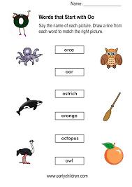 words starting with o worksheets for kindergarten