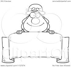 cartoon clipart of a black and white plump leprechaun looking over