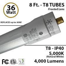 8 foot led t8 tube light replace fluorescent 5000k 4000 lumens