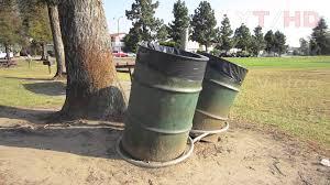 public park commercial outdoor metal trash can barrels for garbage