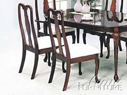 Queen Anne Dining Room Furniture by Amazon Com Set Of 2 Cherry Finish Queen Anne Style Dining Chairs
