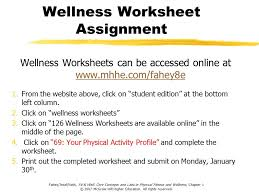 Health And Wellness Worksheets For Basic Principles Of Physical Fitness Ppt