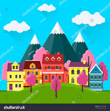 spring cityscape urban landscape small cute stock vector 617668025