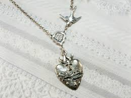 sacred heart jewelry silver necklace silver sacred heart jewelry necklaceday