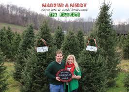 newly wed christmas card pilgrim family christmas tree farm photos