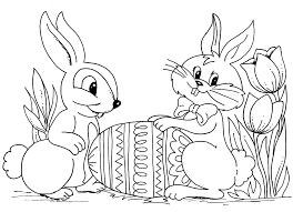 easter bunny and basket coloring pages getcoloringpages com