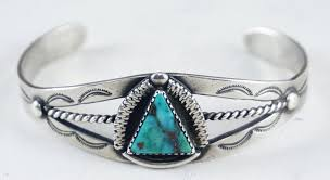 bracelet silver turquoise images Item 877e vintage navajo turquoise triangle stamped silver JPG