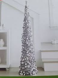new 5 foot slim silver collapsible tinsel tree new in