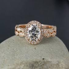 boho wedding ring gold oval moissanite engagement ring diamond milgrain leaf