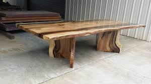 Slab Dining Table by Rainbow Poplar Live Edge Slab Dining Table With Matching V Shaped