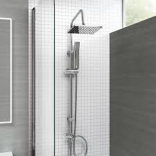 bath shower mixer thermostatic valve tap dual square head rail