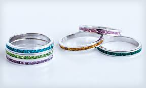 rings with birthstones groupon stackable birthstone rings 12 shipped ends 01 19 13