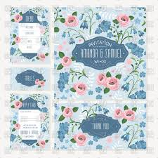 set of wedding cards with flowers wedding invitation thank you