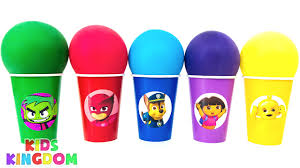 learn colors balloon clay cups teen titans pj masks paw patrol