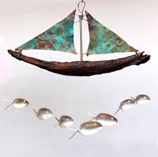 Nautical Patio Decor by Driftwood W Copper Sails Sailing Boat Windchime Spoon Fish Wind
