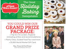 cost plus world market great holiday baking sweepstakes