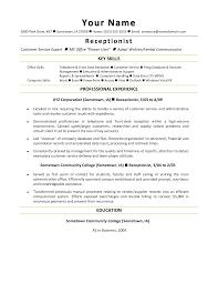 Secretary Resume Templates Receptionist Resume Template Free Resume Template And