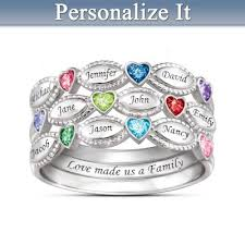 grandmother rings my family my personalized sterling silver birthstone ring set