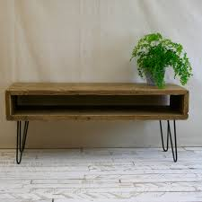 reclaimed wood tv stand rustic industrial hairpin leg home ideas