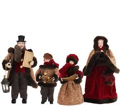 4 dickens carolers with faux fur by valerie page 1 qvc