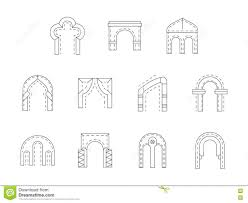 set stone archway flat line icons stock photo image 75235869